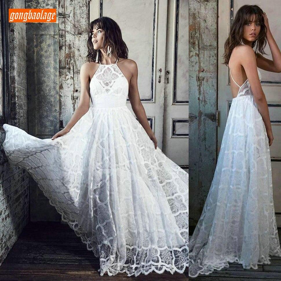 Elegant BOHO Lace Ivory Wedding Dress Long 2019 Sexy Wedding Gowns Scoop Backless Slim Fit Beach Flimsy Cheap Women Bridal Dress
