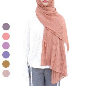 Image 1 - Een Stuk Vrouwen Wraps Lange Sjaals Moslim Crinkle Ruche Hijaabs Solid Plain Geplooide Chiffon Hijab Sjaal