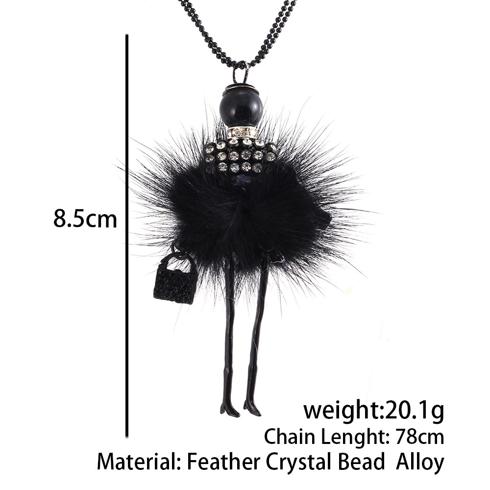 Doll Long Chain Pendant Rhinestone Necklaces*