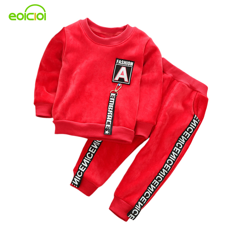 EOICIOI 2017 new autumn winter baby boys girls clothing sets solid letters sport suits kids clothes 2pcs thicken hoodies+pants цены онлайн