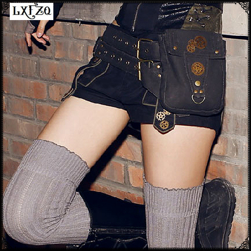 Steam Punk Holster bag Rock Canvas Steampunk bag Retro Goth Shoulder Waist Bag Women and Men Thigh clutch women bag Steam Punk