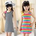 2016 New Summer Casual Cotton Girl Dress Sleeveless Baby Girls Clothes Flowers Girl stripe Dresses Vestido Infantil Kids Clothes
