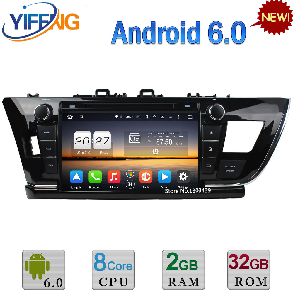 4G 9 Octa Core WIFI Android 6.0 4GB RAM 32GB ROM FM Car DVD Player Radio Stereo For Toyota Corolla LHD 2013-2015 GPS Navigation