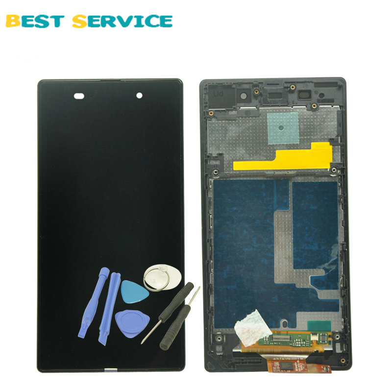 For Sony Xperia Z1 L39H C6902 C6903 C6906 LCD Display + Touch Screen Digitizer Assembly with Frame Free shipping 1 pcs l39h black lcd display touch screen digitizer assembly for sony xperia z1 l39h c6902 c6903 free shipping