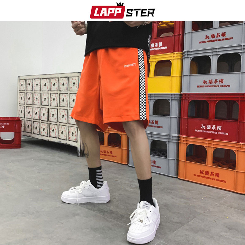LAPPSTER Checkerboard Streetwear Mens Shorts Summer 2019 Side Striped Hip Hop Shorts Cotton Joggers Shorts Fashions Black Shorts