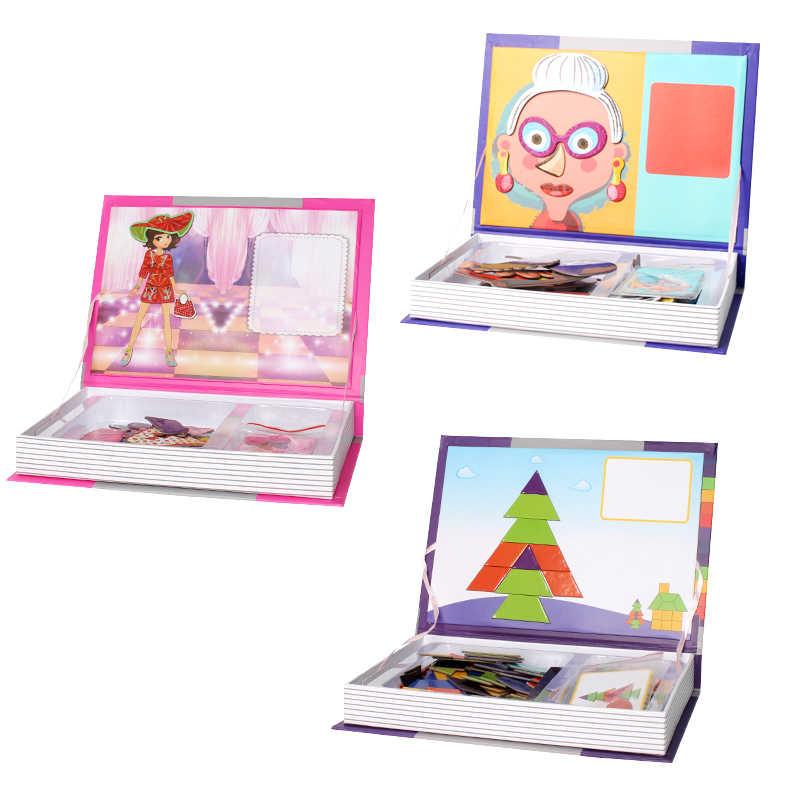 7 типов детских мультяшных интеллектуальных магнитных книг, 3D паззлов, развивающих обучающих игрушек в подарок
