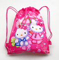 12 Unids Hello Kitty Niñas Niños de Dibujos Animados Impreso Con Cordón Mochila Bolsas de Viaje de la Escuela de Compras Regalos Del Cumpleaños Del Partido