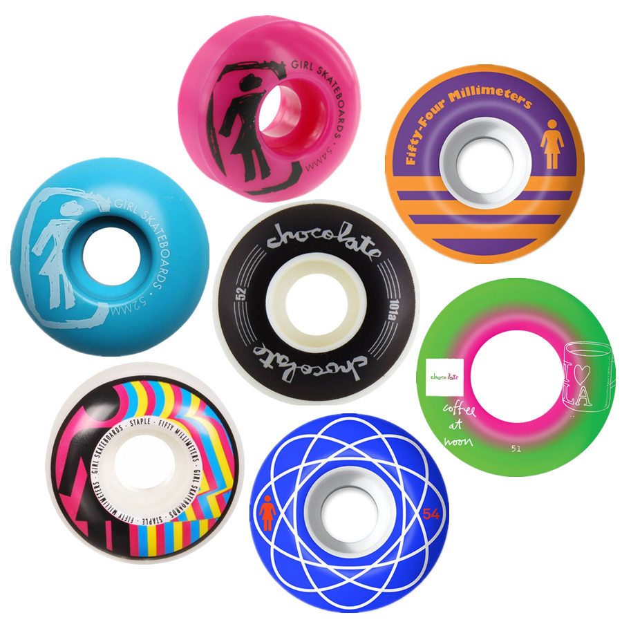 GIRL CHOCOLATE 4pcs/Set Pro Skateboard Wheels 50/52/54mm USA Hot Sale Double Rocker Wheel Ruedas Patines Plastic Rodas Skate