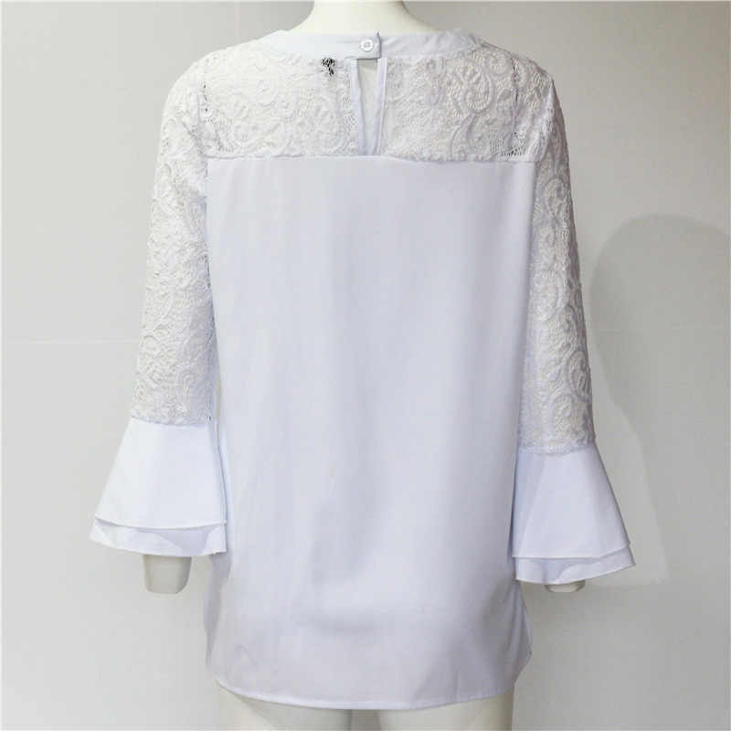 Women Blouses Summer  Spring White Lace Blouse Casual Tops Ruffles Blouses Shirts Pure Chemise Femme Shirts Blusas Feminina