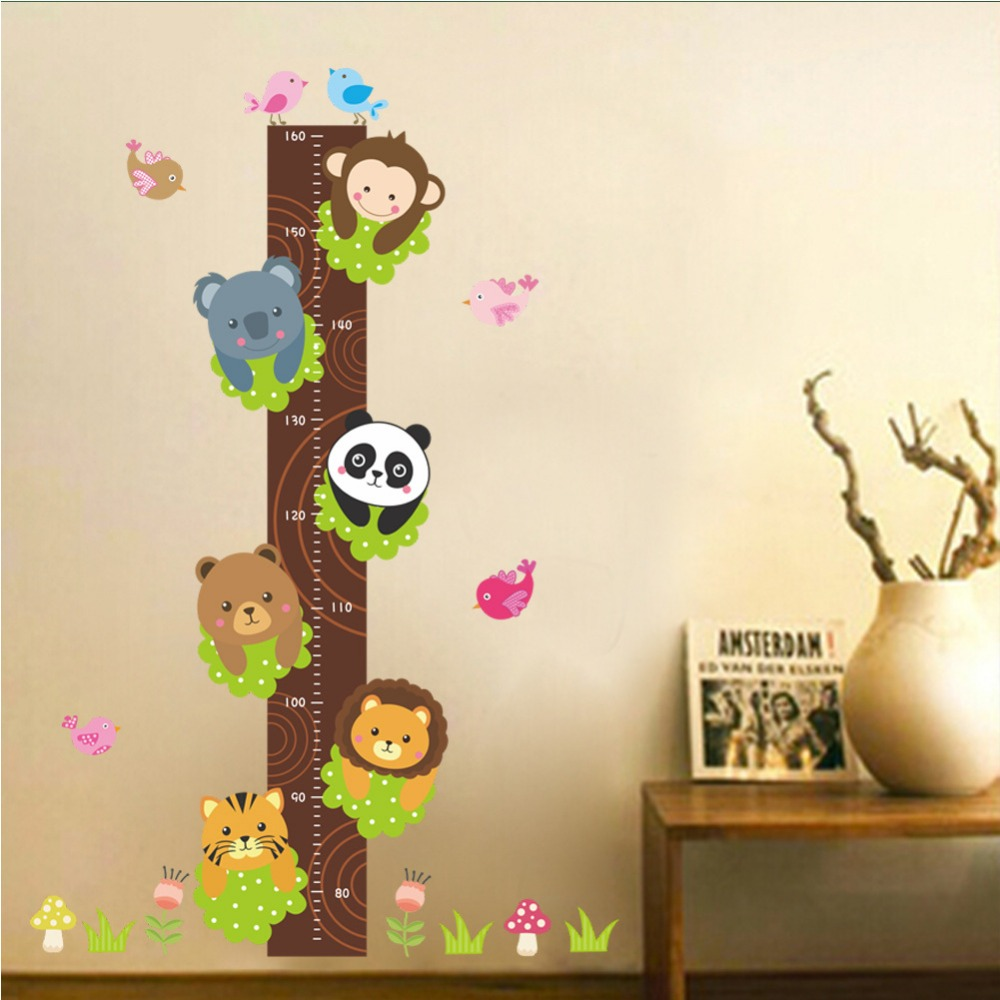 Cute Monkey Panda Lion Tree Animals Wall Decor Stickers For Kids Room Child Height Measure Stickers Adhesive Growth Chart Decal