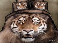 3d тигр животных печати коричневый комплект постельных принадлежностей двуспальную кровать в мешок листов одеяло пуховое одеяло покрывало