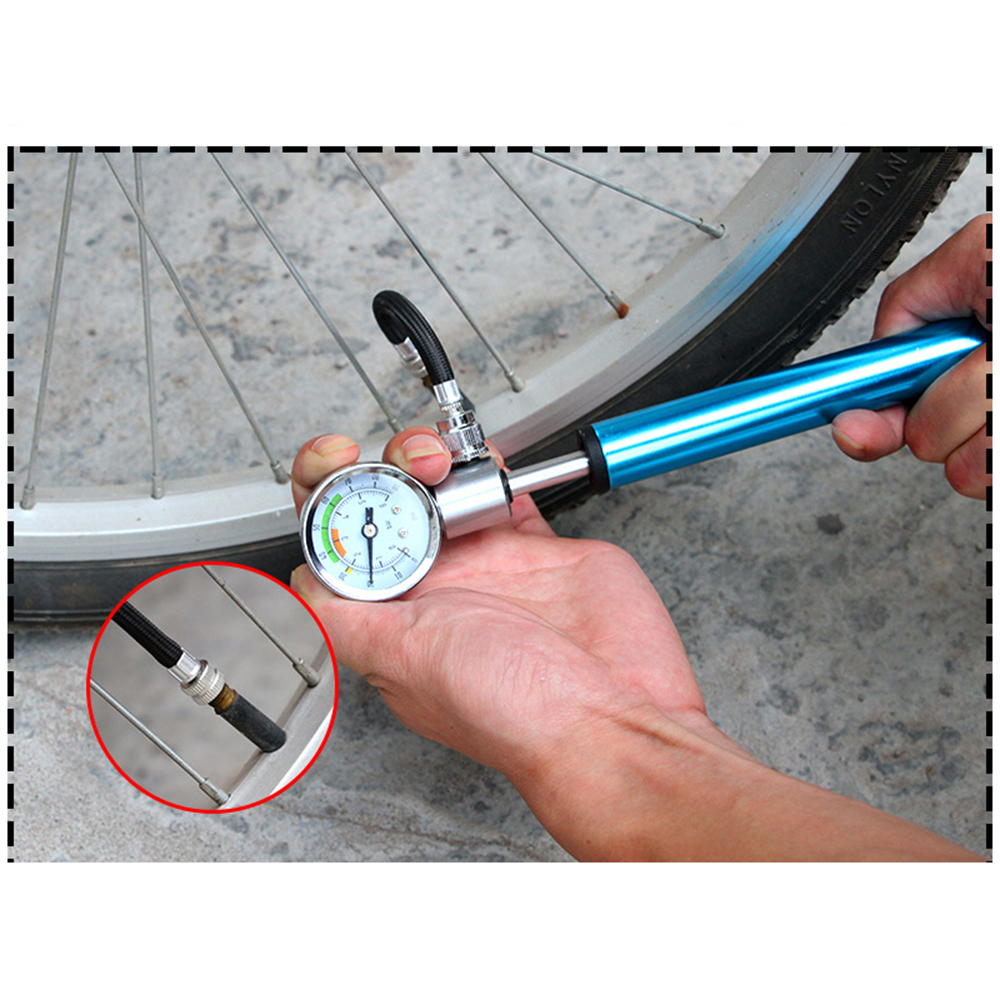 Mini Pump Mountain Bike bicycle pumpbely  Fork Bicycle MTB Pumps Ball With Gauge D30