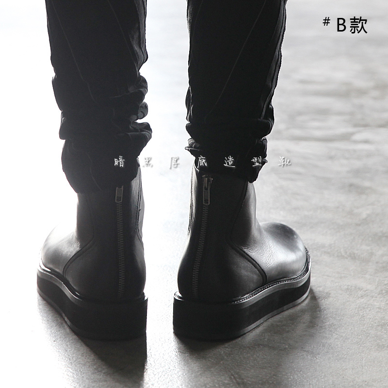 ФОТО New England Style Leather Martin Boots Martin Shoes Zipper Vintage Leather Boots Simple black Ankle Boots Work Shoes
