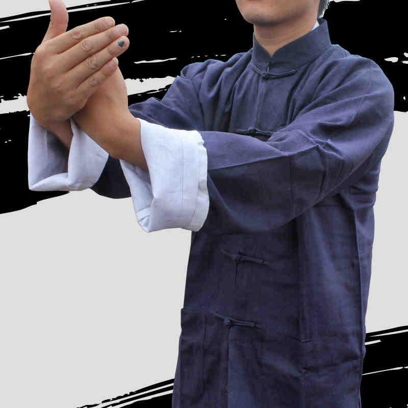 Bruce lee roupas clássico chinês tang terno preto azul kung fu ternos wing chun taiji tai chi