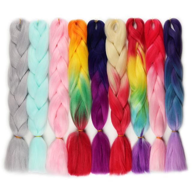 Rockstar Wigs 80color 60cm Synthetic Ombre Jumbo Crochet Braid Hair