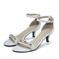Women Fashion Sandals Summer Open Toe Med Heels Rhinestone Shoes Party Bridal Wedding Luxury Dress Shoe