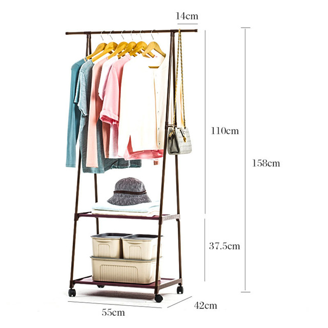 Multi-function Triangle Coat Rack Removable Bedroom Hanging Clothes Rack With Wheels Floor Standing Coat Rack Clothes Hanger 5