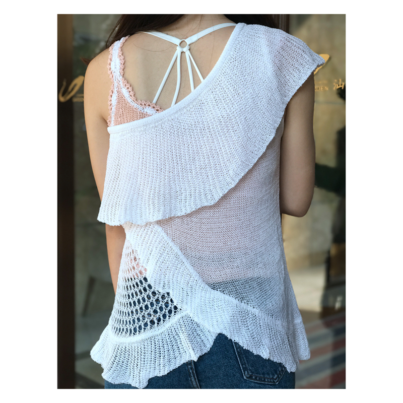 One Shoulder Top Lady Ruffles Blouse Women Summer beach for vacation Bikini Cover up knit Blusas Mujer Blouses Volantes