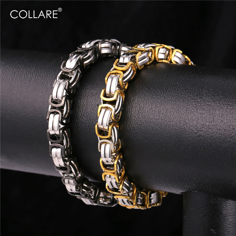 Collare Hippie Bracelet Men Biker Jewelry Gold/Black Color 316L Stainless Steel Flat Byzantine Chain Men Bracelet H189