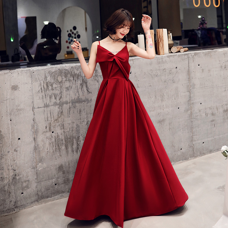 Wine Red   Evening     Dress   Sexy V-neck Spaghetti Strap Backless 2019 New Stylish a Line Prom Party   Dress   Back Lace Up Robe De Soiree
