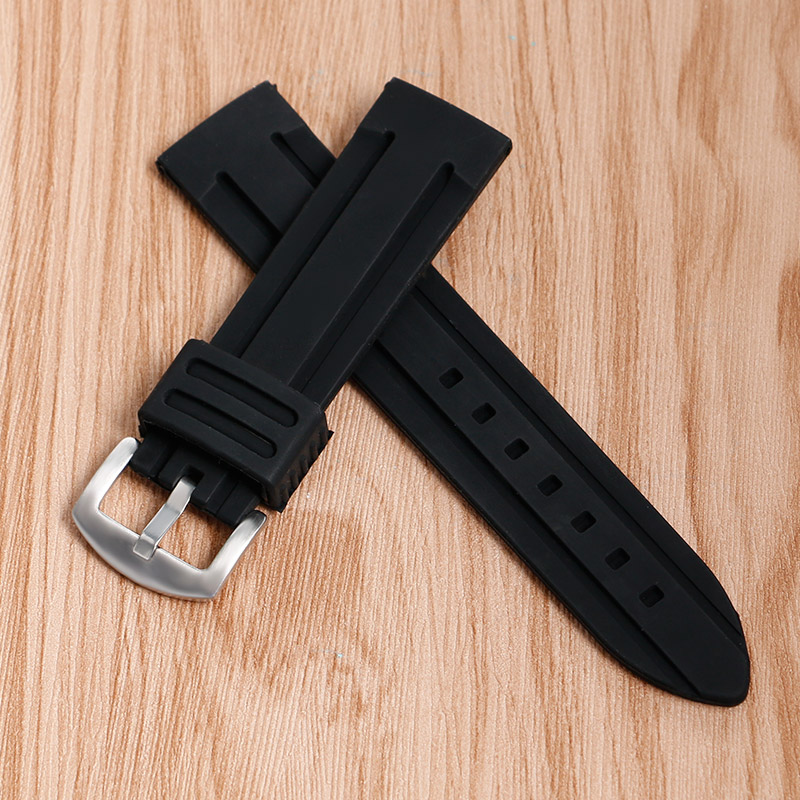 20/22/24/26/28mm Replacement Watch Strap Band Waterproof Soft Military Black Outdoor Silicone Pin Buckle Diving Sport Bracelet цена