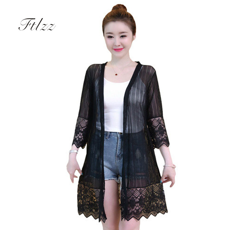 Summer Casual Medium Long Jacket 2018 New Women 3/4 Sleeved Plus Size 4xl Black White Thin Coat Laides Patchwork Lace Outerwear