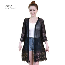 Summer Casual Medium Long Jacket 2018 New Women 3/4 Sleeved Plus Size 4xl Black