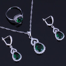 Superb Pear Green Cubic Zirconia White CZ 925 Sterling Silver Jewelry Sets For Women Earrings Pendant Chain Ring V0294