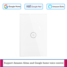 TUya App Control Smart Touch Remote light Switch US Standard 1 Gang 1 Way Wall Touch Light Switch Works with Alexa and Google funry 1 gang touch switch smart wall switch us plug light touch screen st2 1 capacitive touch high sensitivity 1 way