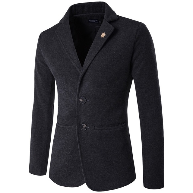 2016 Autumn and winter men's fashion Slim Fit suits jacket men's clothing casual wool Stand collar suit coats big yards