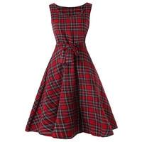 Kenancy Vintage Tartan Mid Swing Women Dress Bow Knot Tied High Waist  Sleeveless Retro Dress Summer ebcee6297a5f