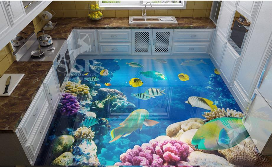 Customized Vinyl Flooring Tile 3d Seaworld Tropical Fish