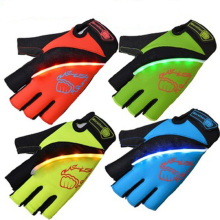 Women sports gloves Breathable Visual Led light half finger cycling gloves