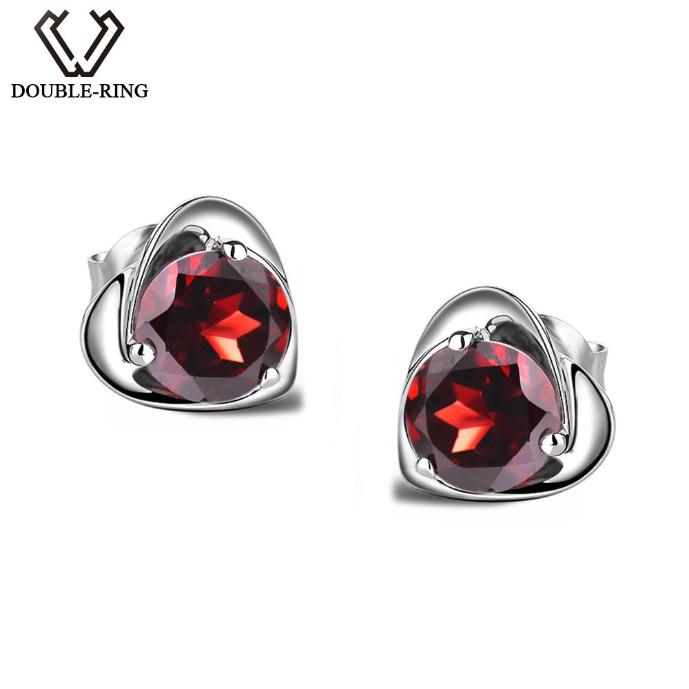 Natural Garnet Heart Earrings 925 Sterling Silver Stud Earrings with Pomegranate for Women Birthday Engagement Anniversary pair of stylish rhinestone alloy stud earrings for women