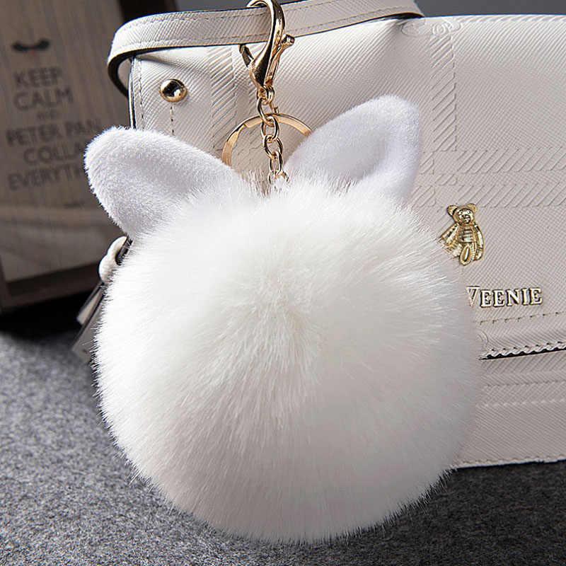 Grande bonito Orelhas de coelho coelho pompom Pele Chaveiro Bola de couro do falso Fofo bolsa Pingente Artificial Pom pom chaveiro porte clef