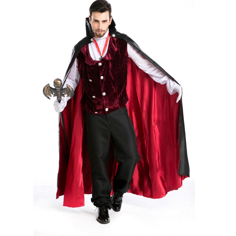 2017 Gothic Vampire costume men halloween  costume for men victorian dress disfraces victorian period man costume