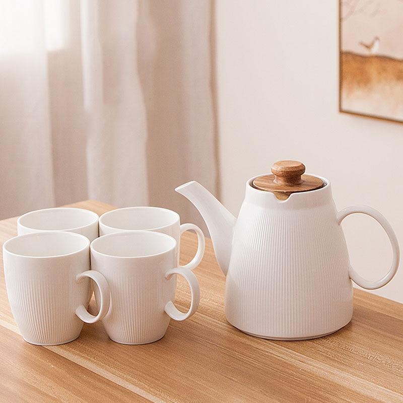 Creative Tea Set Ceramic White Coffee Set Coffee Milk Cup and One Pot Flower Tea Cups Water Kettle Drinkware Teaware Decor Craft