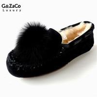G & Zaco Luxo Inverno Primavera Apartamentos Sapatos de Couro Genuíno Couro Nubuck Couro de Pele De Ovelha Fêmea Apartamentos Sapatos Bola Naturais Pele De raposa