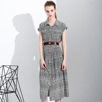 2018 новый шелковое платье Весна Лето черно белой печати женщин шелковое платье длинные модные высококачественные повседневные элегантное п