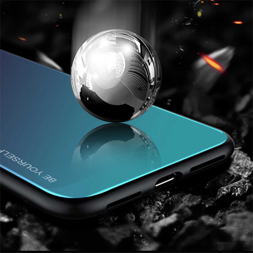 Case For Huawei Y6 Y7 Y5 Y9 Prime 2018 2019 Gradient Phone Cover For Honor 8X 7A DUA L22 7C AUM L41 Tempered Glass Case Shell