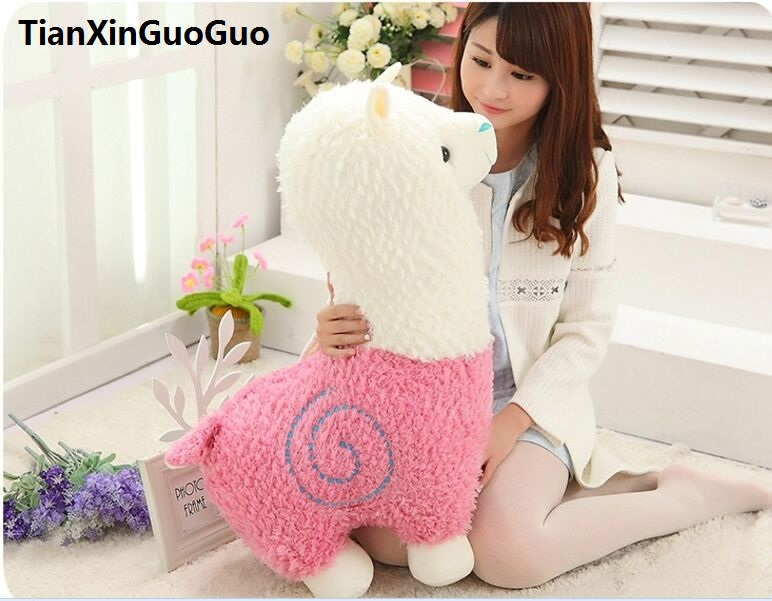 Grand jouet en peluche de mouton d'alpaga rose de dessin animé de 65 cm, cadeau d'anniversaire de coussin mou h2968