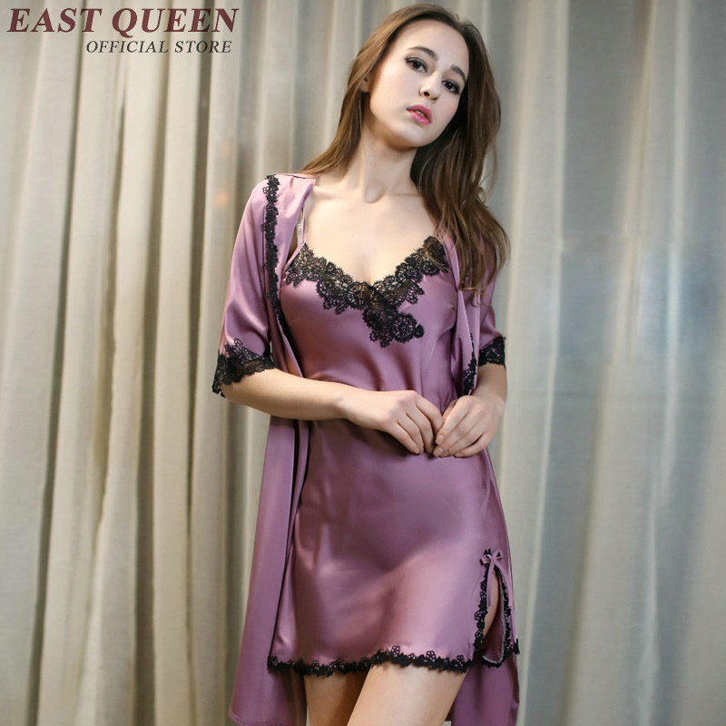 1939d5c1ee Sleep   lounge robe gown set sexy ladies women nightwear female silk ...