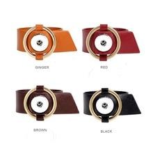 Hot sale 228 Original Genuine Leather Fashion Bracelet 18mm Snap Button Charm Jewelry For Women Teenagers inside length 19cm20cm
