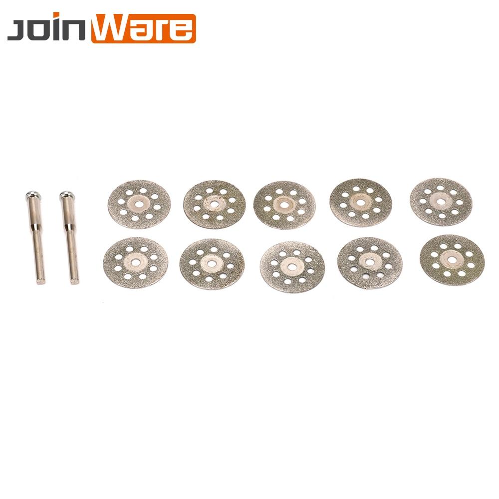 10Pcs Diamond Cutting Discs 22MM Mini Grinding Wheel Saw Blade For Rotary Tools Metal Stone Blade+2pcs Mandrels Drill Bits