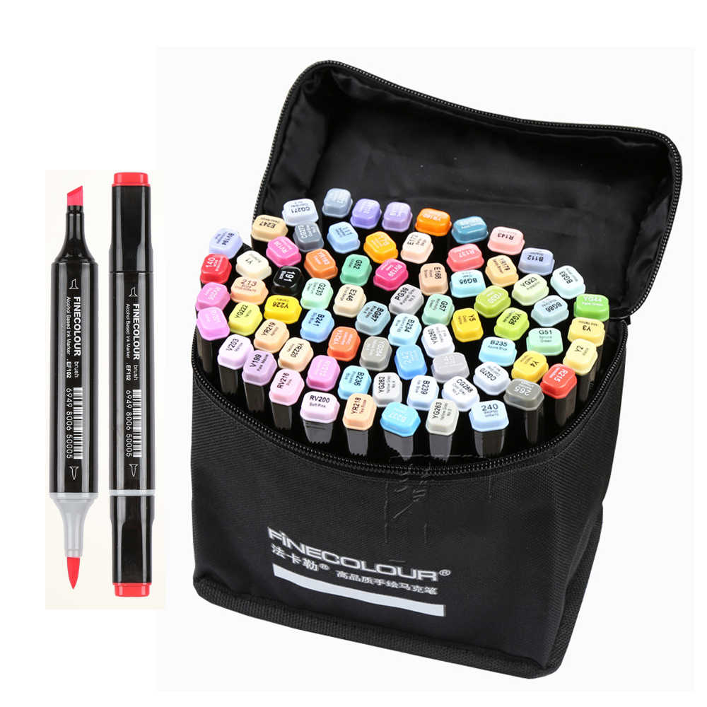 Finecolour EF102 Double-headed Soft Brush Professional Sketch Drawing Art Markers Pen 240colors+25pcs skin color art supplies