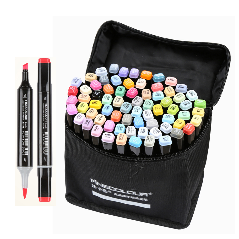 Finecolour EF102 Double headed Soft Brush Professional Sketch Drawing Art Markers Pen 240colors+25pcs skin color art supplies
