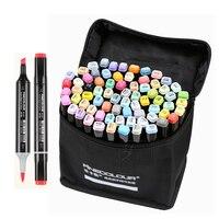 Finecolour ef102 escova macia de cabeça dupla esboço profissional desenho arte marcadores caneta 240 cores + 25 pçs pele cor arte suprimentos