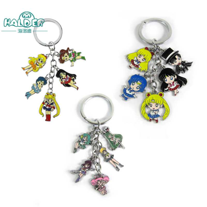 Halder Anime Cosplay Sailor Moon Figure Keychain Mars Jupiter Venus Mercury Keychains Action Figures Pendant Key Chains ...