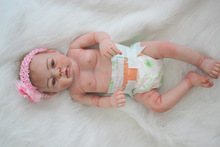 22 inch Collectible ANATOMICALLY CORRECT Full Vinyl Body Lifelike Reborn Baby Girl Doll with Pink Headband