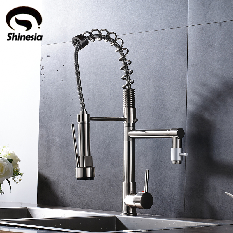 Nickel Brushed Kitchen Sink Faucet 360 Degree Rotating Mixer Tap Hot & Cold Water Countertop Tap free shipping brushed nickel kitchen faucet brass swivel kitchen sinks faucet 360 degree rotating kitchen mixer tap gyd 7119